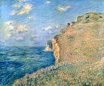 Tablou canvas claude monet   cliff at fecamp, 1881