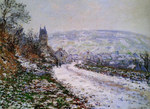 Tablou canvas claude monet   entering the village of vetheuil in winter, 1879