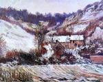 tablou claude monet   snow effect at falaise, 1886