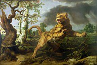 Tablou canvas rubens - the lion and the mouse (together with frans snyders)