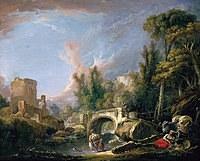 tablou francois boucher - landscape with ruins and bridge (1762)