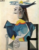 tablou picasso- woman in a fish hat [1942]