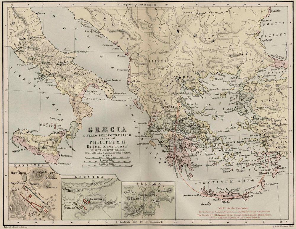 Tablou Canvas Harta Antica Grecia Tablouri Harti Antice