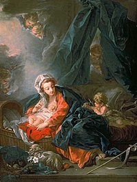 tablou francois boucher - madonna and child with the young saint john the baptist