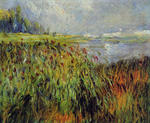 tablou Renoir - bulrushes on the banks of the seine, 1874