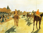 tablou 1872  edgar degas - chevaux de courses devant les tribunes