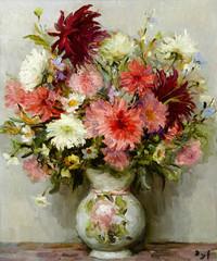 tablou marcel dyf - pink dahlias