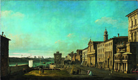 Tablou canaletto - view of via di ripetta in rome