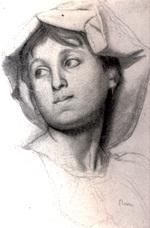 tablou 1856  edgar degas - tete de jeune file romaine  dessin  crayon noir, fusain et estompe