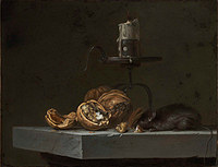 tablou willem van aelst - still life with a mouse and a candelabra. 1647