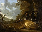 tablou aelbert cuyp - landscape with a shepherd and cows, 1670