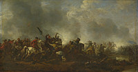 tablou philips wouwermans - cavalry attacking infantry