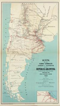 tablou map of argentina, 1888