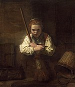 tablou rembrandt - a girl with a broom (1646)