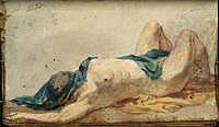 tablou joseph mallord william turner - a supine female nude, with drapery over her head, 1799