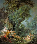 tablou francois boucher - fishing (1759)