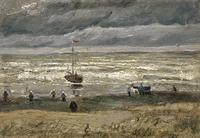 tablou van gogh -  beach at scheveningen in stormy weather, 1882