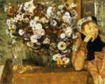 tablou 1865  edgar degas - la femme aux chrysanthemes, madame hertel