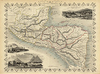 tablou harta veche america de sud (1851)