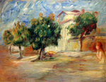 tablou renoir - landscape with nude, 1910