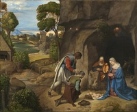 Tablou canvas giorgione - adoration of the shepherds