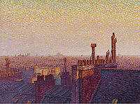 Tablou canvas gustave cariot - the roofs of paris, sunset, 1899