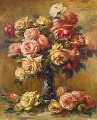 tablou renoir - vase with roses (1)