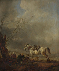 tablou philips wouwermans - a white horse, and an old man binding faggots