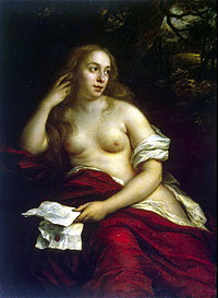 tablou govert flinck - nude with king david's letter (1659)