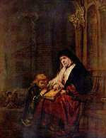 tablou rembrandt - apostle timothy and his grandmother (1648)
