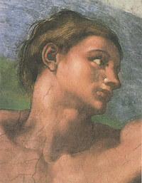 tablou michelangelo - the head of adam, sistine chapel (detail)