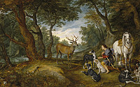tablou rubens- vision sv.guberta (with jan brueghel the elder) (1615)
