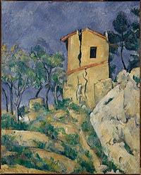 tablou paul cezanne - the house with the cracked walls, 1892