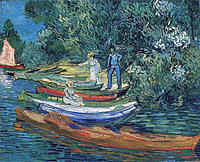 tablou van gogh - rowing boats on the banks of the oise, 1890