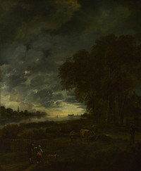 tablou aert van der neer - a landscape with a river at evening