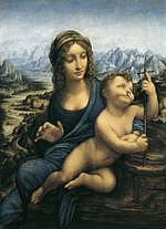 tablou leonardo da vinci - madonna with the yarnwinder