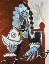 tablou pablo picasso   man with helmet and sword, 1969