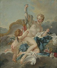 tablou francois boucher - venera disarms cupid