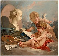 tablou francois boucher - amury (allegory art) (1760)