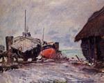 tablou claude monet   fishing boats at etretat, 1873