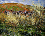 tablou claude monet   plum trees in blossom at vetheuil, 1879