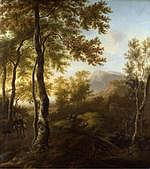 tablou jan dirksz both - italian forest landscape with a man on a donkey and a dog (1640)