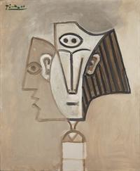tablou picasso - tête de femme (la mediterranée), 1957