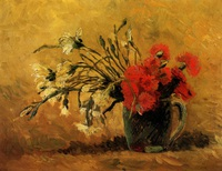 tablou vincent van gogh - vase with red and white carnations on yellow background
