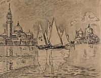 tablou paul signac - venice, saint georges, morning (study), 1908
