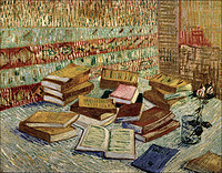 tablou van gogh - still life,french novels and rose, 1888