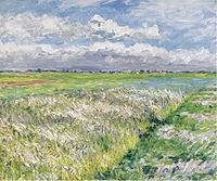 tablou gustave caillebotte - the plain of gennevilliers, etude in yellow and green, 1884