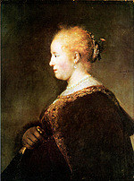 Tablou canvas rembrandt - portret of a young woman (1632)