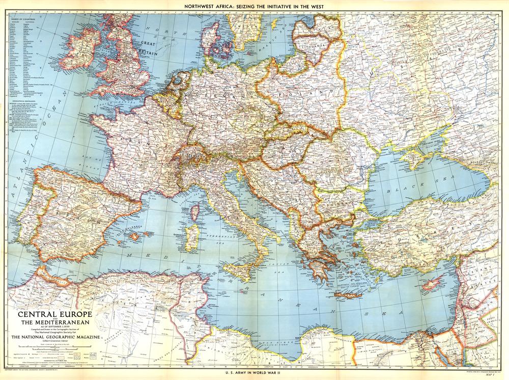 Tablou Canvas Harta Europa Centrala 1939 Tablouri Harti Antice