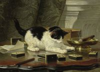 tablou ronner henric abate  the cat at play, 1860